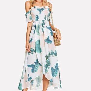 NWOT Palm Leaf Print Off Shoulder Maxi Dress